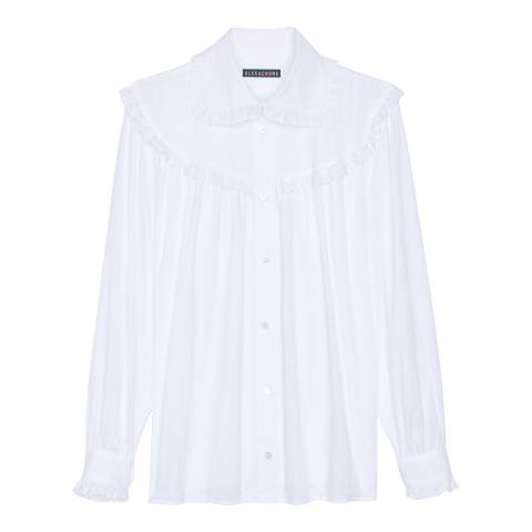 ALEXA CHUNG White Frill Oversized Cotton Shirt