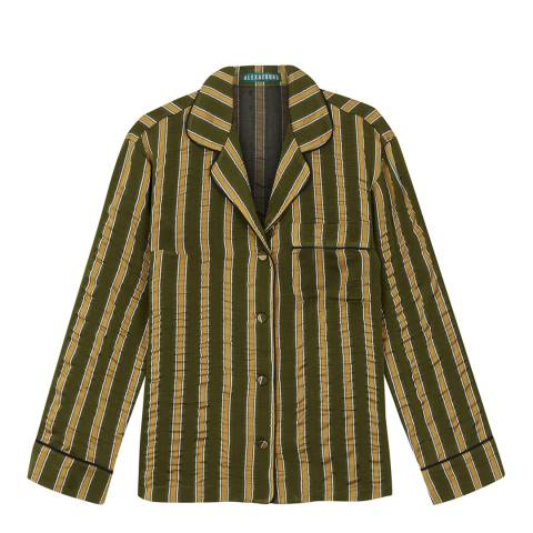 ALEXA CHUNG Khaki Striped Luxe Shirt