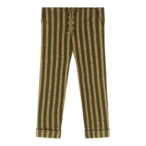ALEXA CHUNG Khaki Striped Luxe Trousers
