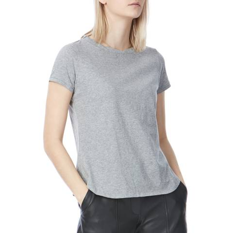 Laycuna London Grey Cotton Twist Neck Short Sleeve Cotton Tee