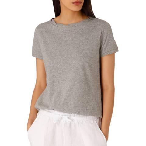Laycuna London Grey Cotton Twist Neck Short Sleeve Cotton Tee