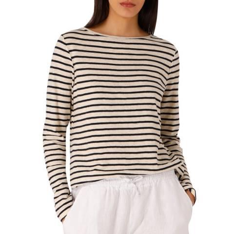 Laycuna London Navy/Cream Cotton Long Sleeve Breton Stripe Tee