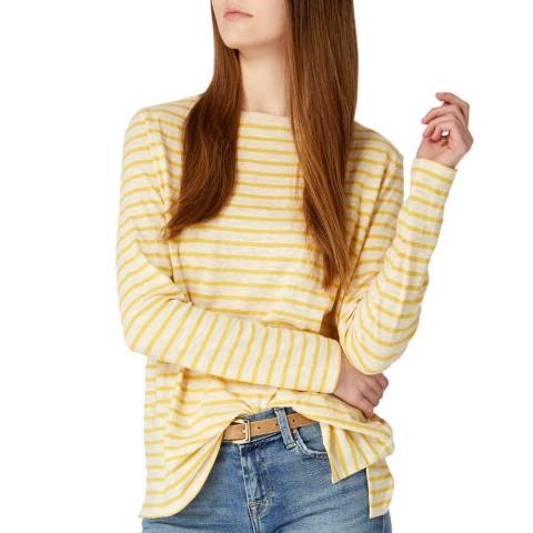 Laycuna London Lemon/Cream Cotton Long Sleeve Breton Stripe Tee