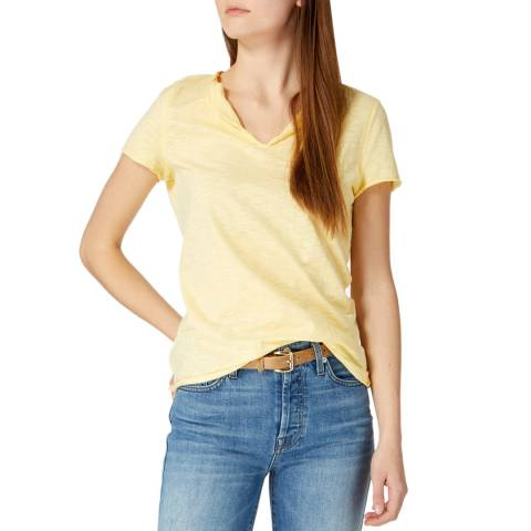 Laycuna London Lemon Cotton Raw Edge Button Vee Neck Tee