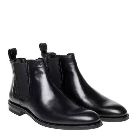 John White Black Leather Piccadilly Chelsea Boot