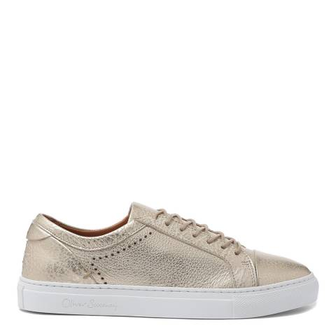 Oliver Sweeney Gold Leather Metallic Vendas Trainers