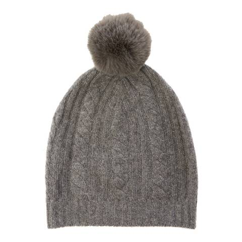 Laycuna London Grey Cable Cashmere Knit Faux Fur Bobble Hat