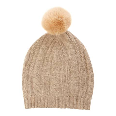 Laycuna London Taupe Cable Cashmere Knit Faux Fur Bobble Hat