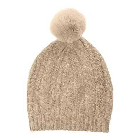 Laycuna London Beige Cable Cashmere Knit Faux Fur Bobble Hat