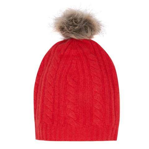 Laycuna London Red Cashmere Faux Fur Bobble Hat
