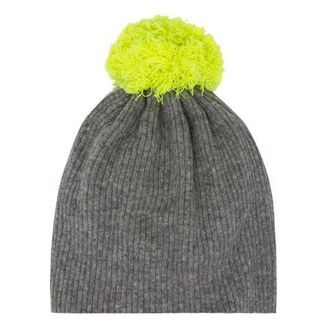 Laycuna London Grey/Neon Yellow Cashmere Knit Bobble Hat