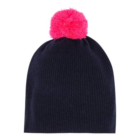 Laycuna London Navy/Pink Cashmere Knit Bobble Hat