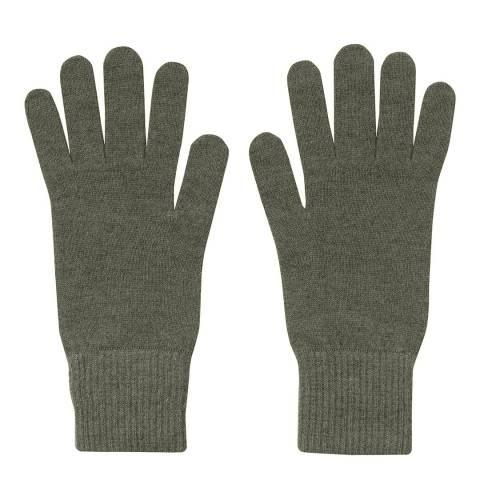 Laycuna London Khaki Ribbed Short Cashmere Gloves