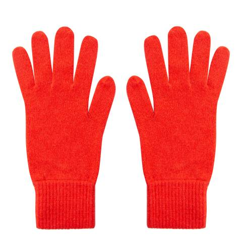 Laycuna London Scarlet Red Ribbed Short Cashmere Gloves
