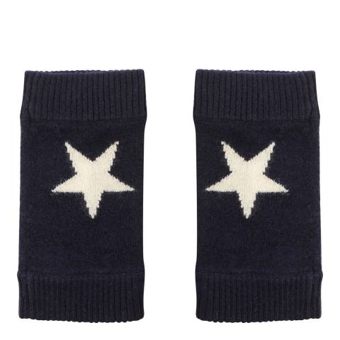 Laycuna London Navy/White Cashmere Star Wrist Warmer
