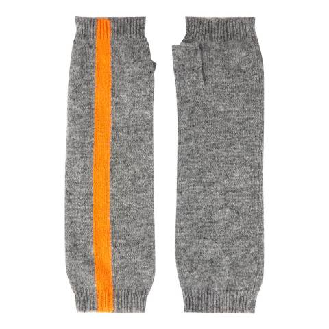 Laycuna London Grey/Orange Stripe Cashmere Wrist Warmer
