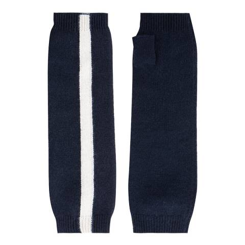 Laycuna London Navy Stripe Cashmere Wrist Warmer