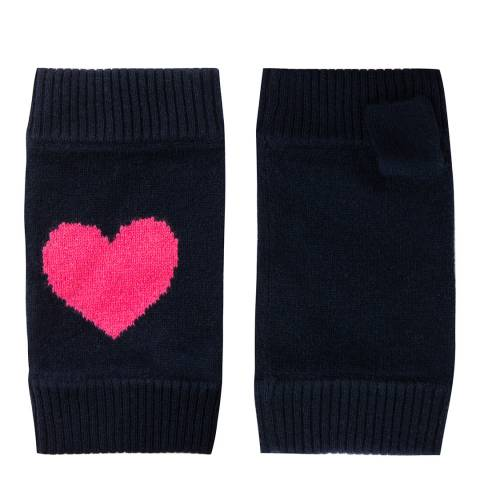 Laycuna London Navy/Pink Cashmere Heart Wrist Warmer