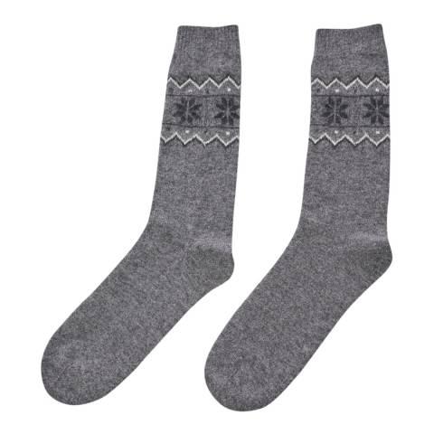 Laycuna London Grey Fairisle Cashmere Socks
