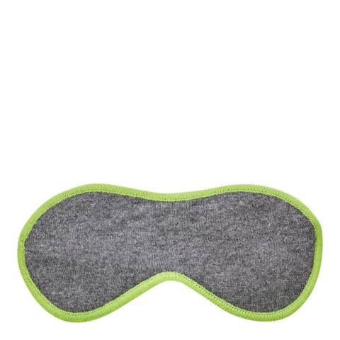 Laycuna London Grey Cashmere Eye Mask With Neon Green Trim