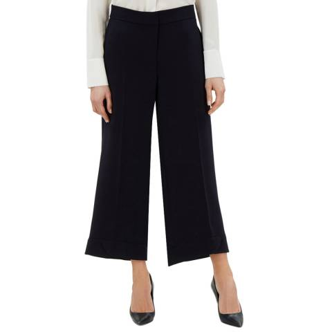 Jaeger Navy Cropped Wide Leg Trousers