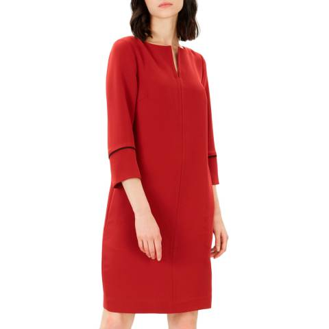 Jaeger Red Crepe Piping Detail Dress