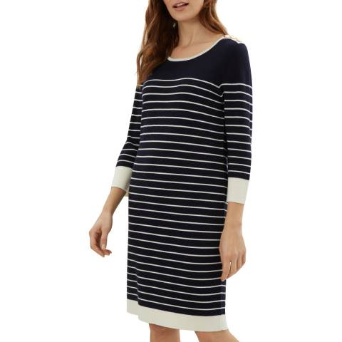 Jaeger Navy Engineered Breton Knit Dress