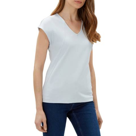 Jaeger Blue Drop Shoulder Seam Detail Jersey Top