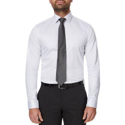 BOSS White Ismo Slim Cotton Shirt