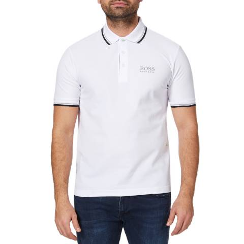BOSS White Paddy Pro Cotton Blend Polo Top
