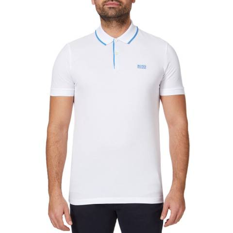 BOSS White Firenze Cotton Polo Top