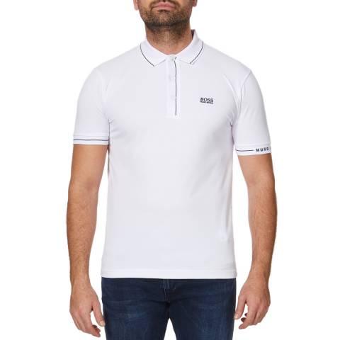 BOSS White Paule Stretch Cotton Polo Top