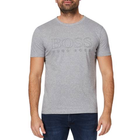 BOSS Grey Teebo Logo Cotton T-Shirt