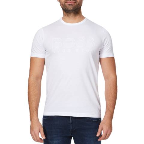 BOSS White Teebo Logo Cotton Tee