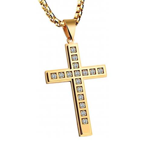 Stephen Oliver 18K Gold Plated Zirconia Cross Pendant Necklace