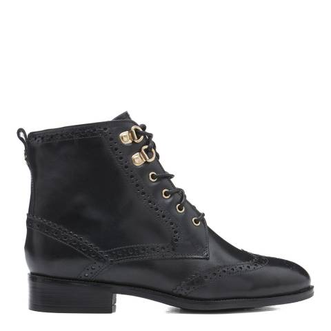 Dune London Black Prime Leather Ankle Boot