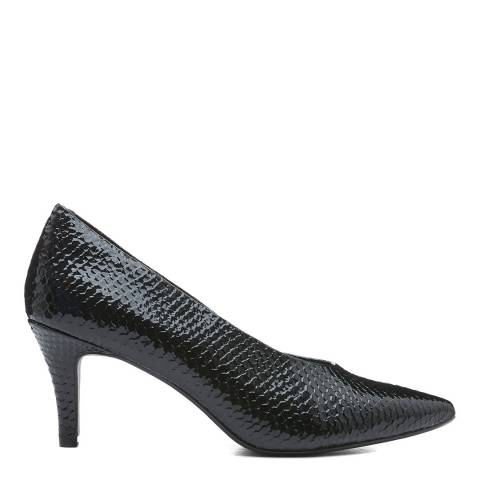 Dune London Black Ruby Reptile Heeled Shoe