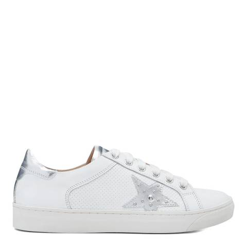 Dune London White & Silver Elwinn Leather Sneaker
