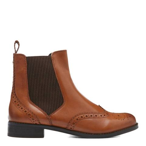 Dune London Tan Parks Leather Ankle Boot