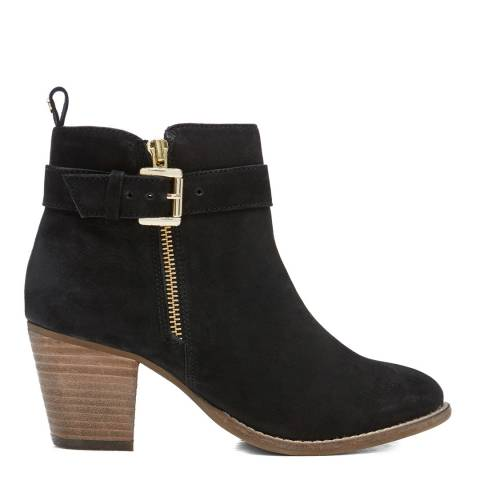Dune London Black Pollee Nubuck Ankle Boot