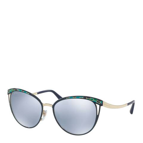Bvlgari Women's Blue/Gold Cat Eye Bvlgari Sunglasses 56mm