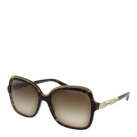 Bvlgari Women's Brown Crystal Bvlgari Sunglasses 56mm
