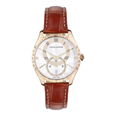 Chrono Diamond Women's Swiss Brown Watch