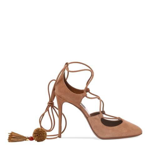 Dolce & Gabbana Brown Suede Lace up Stiletto Heels