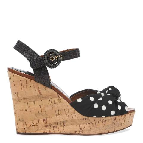 Dolce & Gabbana Black Polka Dot Wedge Sandals