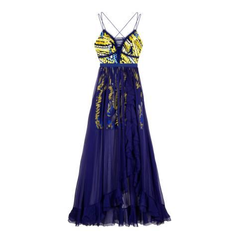Three Floor Navy/Yellow New Flame Dress