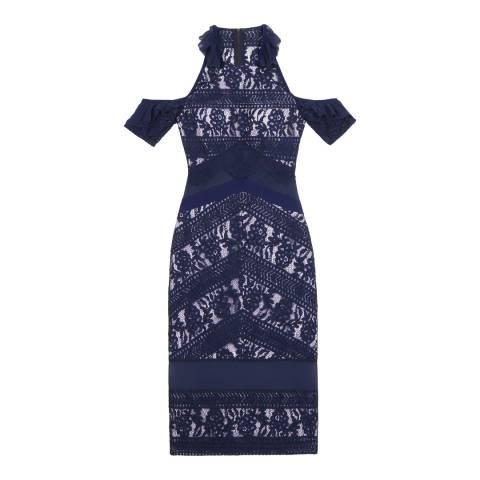 Three Floor Navy/Lilac Inky Dress