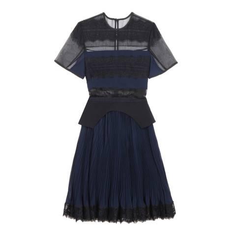 Three Floor Black/Navy Lace Motive Dress