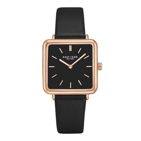 East Village Women's Black / Rose Gold Grand Leather Watch