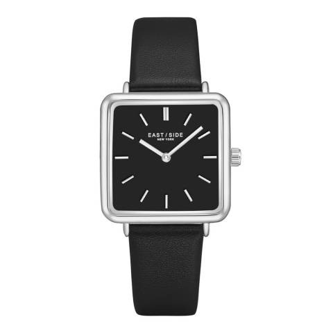 East Village Black / Silver Grand Rectangular Leather Watch